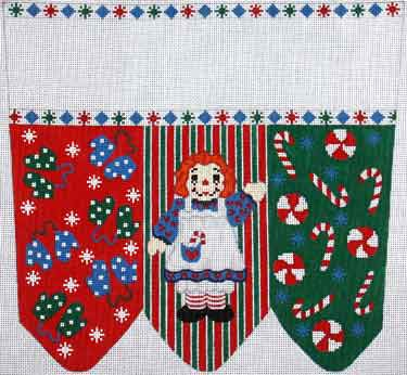 click here to view larger image of Raggedy Ann With Mittens and Candy Stocking Cuff (hand painted canvases)