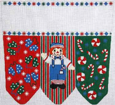 click here to view larger image of Raggedy Andy With Mittens and Candy Stocking Cuff (hand painted canvases)