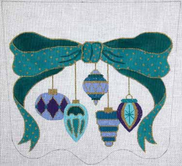 click here to view larger image of Bow And Antique Ornaments Stocking Cuff - Teal and Purple (hand painted canvases)