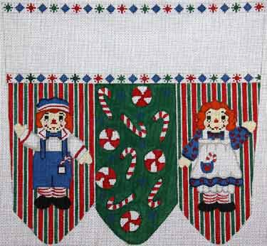 click here to view larger image of Raggedy Ann and Andy With Candy Stocking Cuff (hand painted canvases)