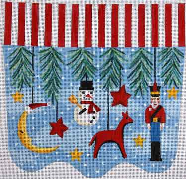 click here to view larger image of Primitive Ornaments With Moon Stocking Cuff (hand painted canvases)