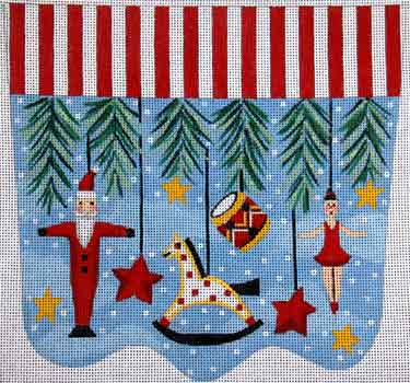 click here to view larger image of Primitive Ornaments With Rocking Horse Stocking Cuff (hand painted canvases)