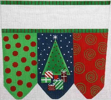 click here to view larger image of Holiday Surprises Stocking Cuff (hand painted canvases)