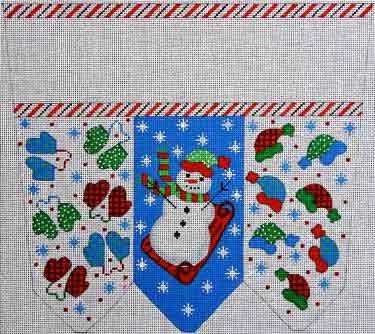 click here to view larger image of Snowman With Mittens Stocking Cuff (hand painted canvases)
