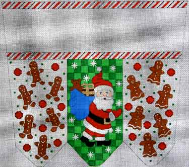 click here to view larger image of Santa With Gingerbread Boys and Girls Stocking Cuff (hand painted canvases)