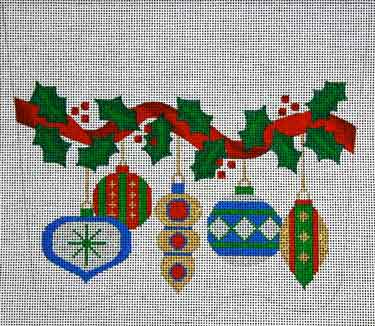 click here to view larger image of Old Fashioned Ornaments Stocking Cuff (hand painted canvases)