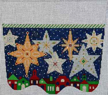 click here to view larger image of Starry Starry Night Stocking Cuff (hand painted canvases)