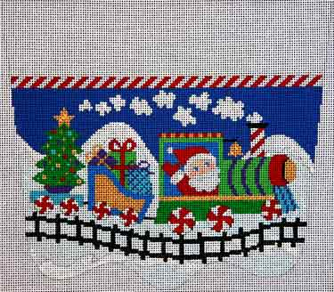 click here to view larger image of Santas Toy Train Stocking Cuff (hand painted canvases)