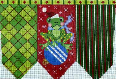 click here to view larger image of Frog On a Ball Stocking Cuff (hand painted canvases)