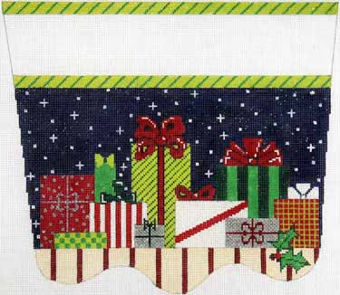 click here to view larger image of Presents Stocking Cuff (hand painted canvases)