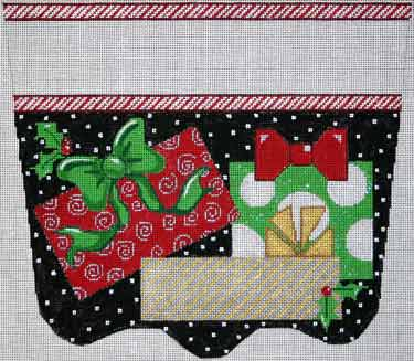 click here to view larger image of Presents On Black Stocking Cuff (hand painted canvases)