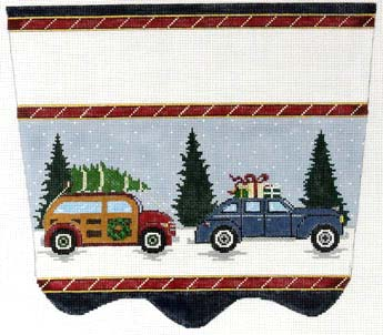 click here to view larger image of Vintage Car Stocking Cuff (hand painted canvases)