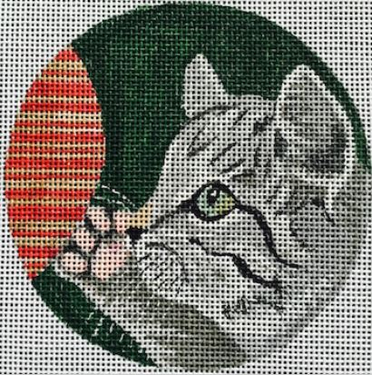 click here to view larger image of Tabby Cat Ornament (hand painted canvases)