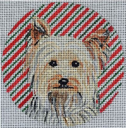 click here to view larger image of Yorkie Ornament (hand painted canvases)