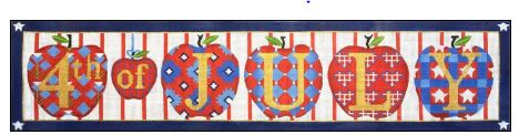 click here to view larger image of 4th of July Apples (hand painted canvases)