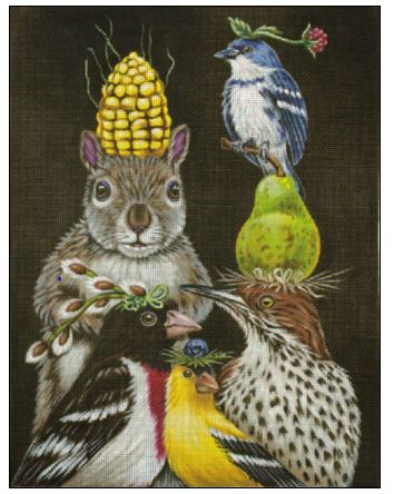 click here to view larger image of Party Under the Feeder (hand painted canvases)