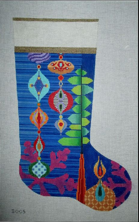 click here to view larger image of Christmas Collage Stocking (hand painted canvases)