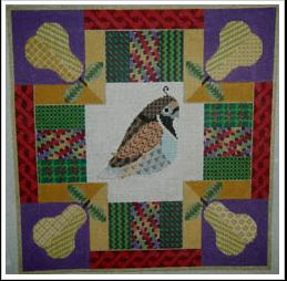 click here to view larger image of Partridge and Pears Quilt (hand painted canvases)
