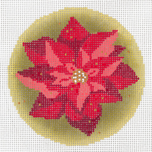 click here to view larger image of Gilded Poinsettia Ornament (hand painted canvases)