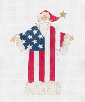 click here to view larger image of American Flag Santa, The (hand painted canvases)