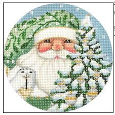 click here to view larger image of Wintergreen Santa Ornament (hand painted canvases)