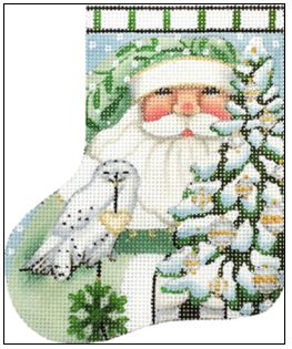 click here to view larger image of Wintergreen Santa Mini Sock (hand painted canvases)