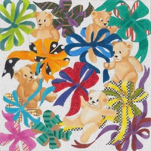 click here to view larger image of Baby Bears and Bows (hand painted canvases)