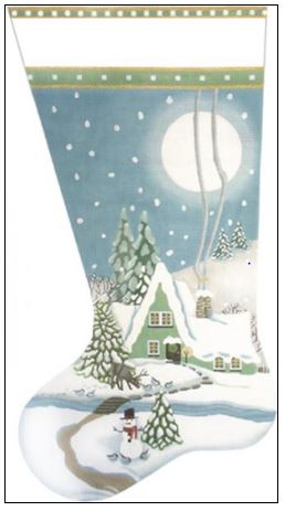 click here to view larger image of Wintergreen House Stocking (hand painted canvases)