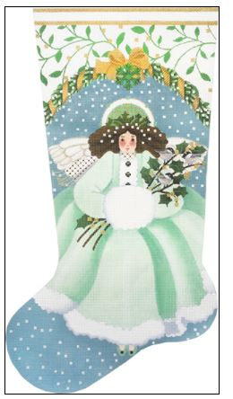 click here to view larger image of Wintergreen Angel Stocking (hand painted canvases)