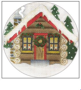 click here to view larger image of Christmas Cabin (hand painted canvases)