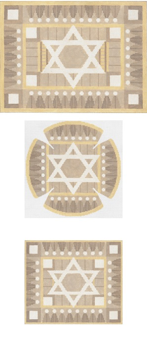click here to view larger image of Geo Border Taupe Tallis (hand painted canvases)