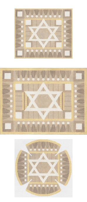 click here to view larger image of Geo Border Taupe Tefillin (hand painted canvases)