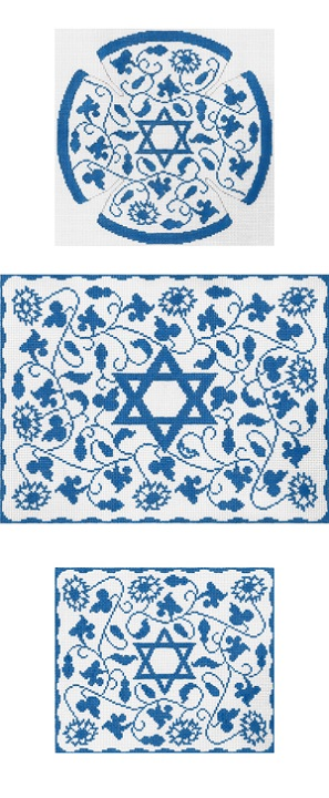 click here to view larger image of Blue Vine Floral Yarmulke (hand painted canvases)