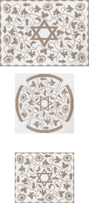 click here to view larger image of Taupe Vine Floral Tallis (hand painted canvases)