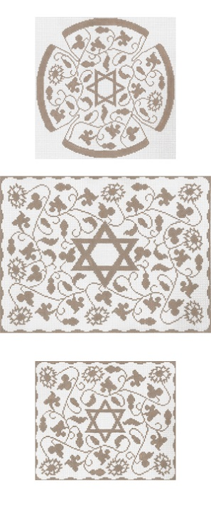 click here to view larger image of Taupe Vine Floral Yarmulke (hand painted canvases)