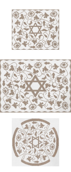 click here to view larger image of Taupe Vine Floral Tefillin (hand painted canvases)