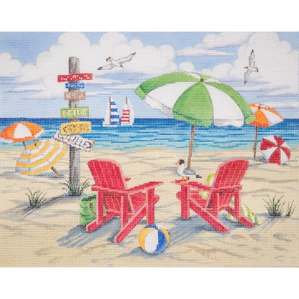 click here to view larger image of Beach Scene (hand painted canvases)