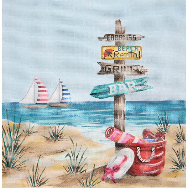 click here to view larger image of Beach With Sign Posts (hand painted canvases)