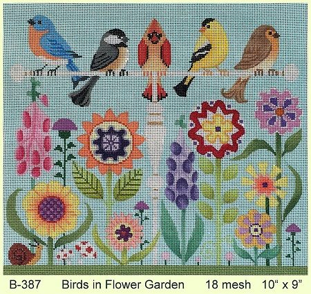 click here to view larger image of Birds In Flower Garden (hand painted canvases)