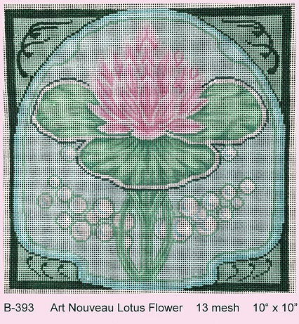 click here to view larger image of Art Nouveau Lotus Flower (hand painted canvases)