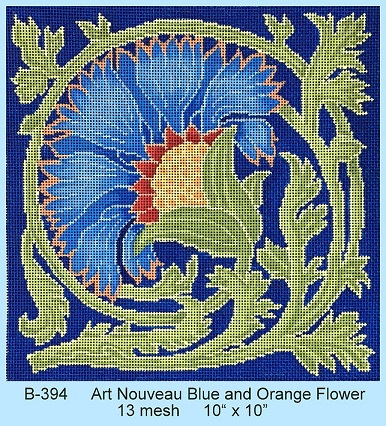 click here to view larger image of Art Nouveau Blue and Orange Flower (hand painted canvases)