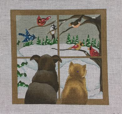 click here to view larger image of Cat and Dog in the Window (hand painted canvases)