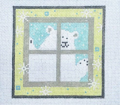 click here to view larger image of Polar Bear in Window (hand painted canvases)