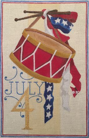 click here to view larger image of July 4th Drum (hand painted canvases)