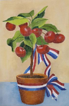 click here to view larger image of Potted Cherries (hand painted canvases)