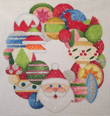 click here to view larger image of Santa Wreath (hand painted canvases)