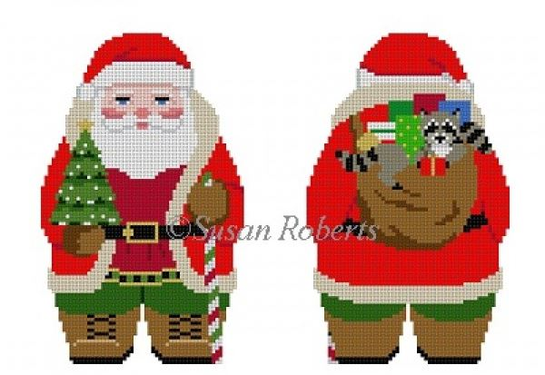 click here to view larger image of Woodsman Santa (2 sided) (hand painted canvases)