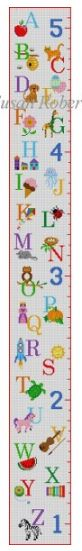 click here to view larger image of Alphabet Sampler Growth Chart (hand painted canvases)