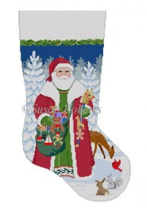 Woodland Santa Stocking hand painted canvases
