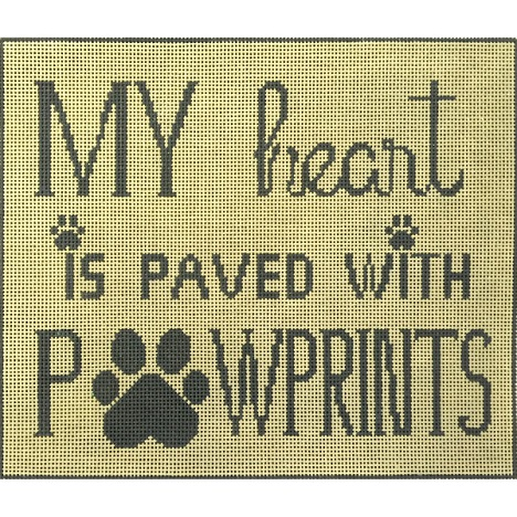 click here to view larger image of Heart and Paw Prints (hand painted canvases)